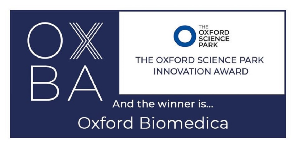 Oxford Biomedica named as winner of The Oxford Science Park Innovation Award 2019